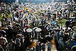Crowd in Rain at Summer Festival, Seoul, South Korea
