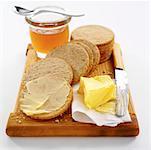 Galettes d'avoine, miel, beurre