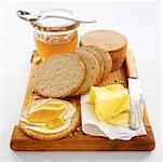 Galettes d'avoine, beurre, miel