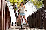 Woman Riding Cruiser Bike, Santa Fe, New Mexico, USA