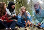Groupe d'adolescentes torréfaction guimauves sur un feu de camp joue de l'harmonica
