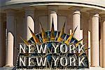 New York New York Hotel and Casino Sign, Paradise, Las Vegas, Nevada, USA