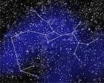 Outline of Constellation of Sagittarius in Night Sky
