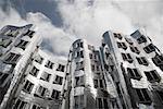 View of Frank Gehry Buildings from Bridge, Dusseldorf, North Rhine-Westphalia, Germany