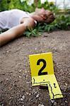 Leiche am Tatort und Beweise Marker