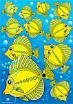 Illustration of School of Yellow Fish