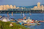 Windsurfers and Boats on Han River, Seoul, South Korea