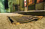 Close-Up of Street and Storm Drain, Salzburg, Austria