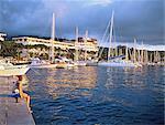 Polynésie française, île de Tahiti, Papeete, le front de mer et le port au crépuscule
