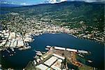 Vue aérienne de l'île, Papeete, île de Polynésie française, Tahiti