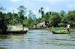 Vietnam, Mekong delta, wooden huts and boats on Mekong River