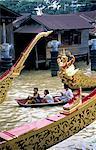 Thailand, Bangkok, royal barges on the Chao Praya River