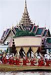 Thailand, Bangkok, by the Grand Palace, royal barges parade on the Chao Praya River