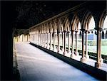 France, Normandy, Mont Saint-Michel, the abbey cloister