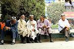 China, Xinjiang, kashgar, group of Uyghur men