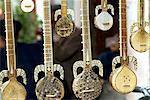China, Xinjiang, kashgar, old city, traditional Uyghur musical instruments