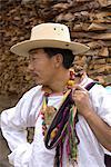 China, Sichuan, near Danba, Tibetan village festival, portrait of a Tibetan man