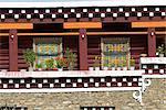 China, Sichuan, Tibetan dwelling, detail