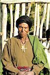 Portrait d'une femme chrétienne d'Amhara en Éthiopie,