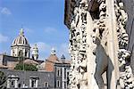 Italie, Sicile, Catane, la cathédrale et le détail de la façade