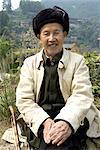 China, Guizhou, Xijiang village, portrait of an old man