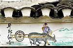 Village de Zhaoxing, Guizhou, la Chine, détail d'un tableau, des scènes traditionnelles de Dong
