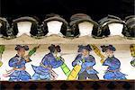 Village de Zhaxing, Guizhou, la Chine, détail d'un tableau, des scènes traditionnelles de Dong