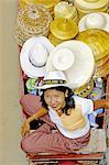 Thailand, Bangkok, Damnoen Saduak, floating market, hat seller