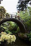 Woman Walking Across Bridge at the Japanese Tea Garden in Golden Gate Park, San Francisco, California, USA