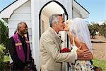 Bride and Bridegroom Kissing