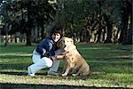Portrait de femme et chien