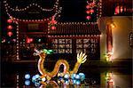 Dragon et des lanternes au jardin botanique de Montréal, Canada,