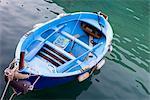 High angle view of a boat, Vernazza, Cinque Terre, La Spezia Province, Liguria, Italy