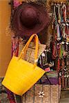 Necklaces and hand bags at a market stall, Cinque Terre National Park, Via Roma, Vernazza La Spezia, Liguria, Italy