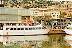 Ferry docked at a port, Porto Antico, Genoa, Liguria, Italy