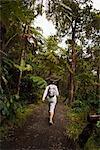 Woman Hiking in Hawaii Volcanoes National Park, Big Island, Hawaii