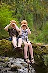 Boys Looking Through Fingers, Portland, Oregon, USA