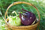 Basket of fresh kohlrabi
