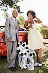 Newlyweds by Convertible, Niagara Falls, Ontario, Canada