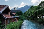 House by Stream, Garmisch-Partenkirchen, Bavaria, Germany