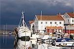 Boote im Hafen, Grundsund, Bohuslan, Schweden