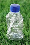Crumpled Plastic Bottle in Grass