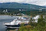 Cruise Ship Passing Under Lion's Gate Bridge, Vancouver, British Columbia, Canada