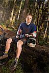 Portrait of Mountain Biker, Blackrock Mountain Bike Park, Near Salem, Oregon, USA