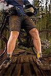 Close-up of Mountain Biker's Legs, Blackrock Mountain Bike Park, Salem, Oregon, USA