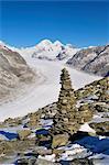 Cairn and Aletsch Glacier from Eggishorn, Switzerland