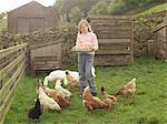 Mädchen mit Tray Eier mit Hennen