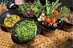 Légumes frais jardin cuisine au wok, North Male Atoll, Maldives