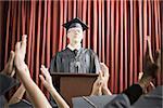 Dean giving graduation speech