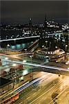 Suède, Stockholm, Slussen, ville de nuit, longue exposition